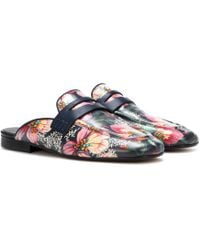 Isabel Marant Finza Floral Slippers - Blue