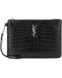 Saint Laurent Monogram Leather Pouch - Black