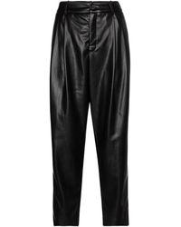 Velvet Simone Faux Leather Tapered Trousers - Black