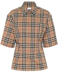Burberry Vintage Check Stretch-cotton Shirt - Natural