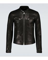 Tom Ford Exclusivo en Mytheresa - chaqueta motera de piel - Negro