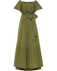Valentino Off-the-shoulder Belted Evening Gown - Green