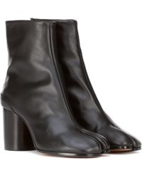 Maison Margiela Tabi Leather Ankle Boots - Black