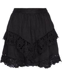 Étoile Isabel Marant Enali Embroidered Linen Miniskirt - Black