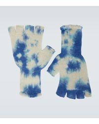 The Elder Statesman Handschuhe aus Kaschmir in Batik - Blau