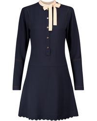 Chloé Tie-neck Cady Minidress - Blue