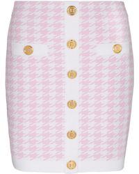 Balmain Houndstooth Jacquard Knit Miniskirt - Pink