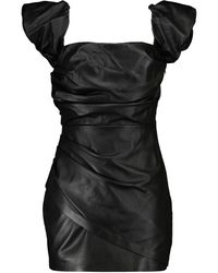 Zeynep Arcay Mini-robe en cuir épaules dénudées - Noir