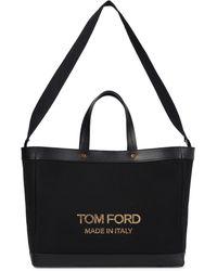 Tom Ford Tote T Screw Medium aus Canvas - Schwarz