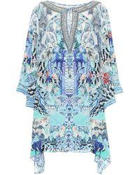 Camilla Caftán de seda estampado adornado - Azul