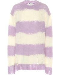 Acne Studios Kantonia Distressed-stripe Knitted Sweater - Purple