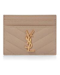 Saint Laurent Monogram Leather Card Holder - Natural