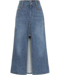 Chloé Denim Midi Skirt - Blue