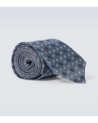Fendi Cravatta in seta con stampa - Blu