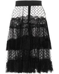 Dolce & Gabbana Jupe en tulle à plumetis et dentelle - Noir