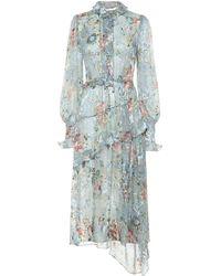 Preen By Thornton Bregazzi Ellie Silk-blend Devoré-satin Dress - Blue