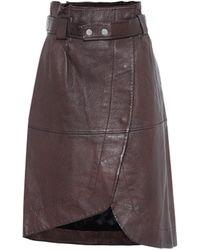 Ganni Leather Midi Skirt - Brown