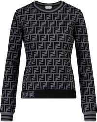 Fendi Sweatshirt FF aus Jersey - Grau