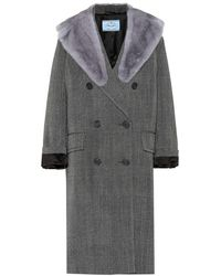 new products 07da7 9e728 Cappotto in lana con pelliccia di visone - Grigio
