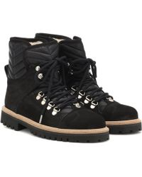 Ganni Quilted Lace Up Boots - Black