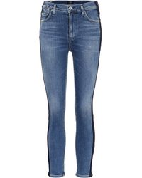 Citizens of Humanity High-Rise Skinny Jeans Rocket Crop - Blau