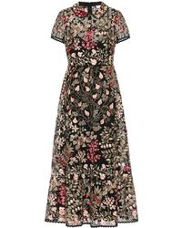 RED Valentino Embroidered Broderie Anglaise Midi Dress - Multicolour