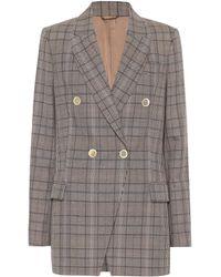 Brunello Cucinelli Checked Wool And Cotton Blazer - Grey