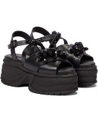 Simone Rocha Embellished Leather Platform Sandals - Black