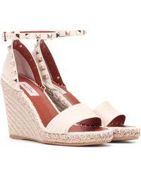 Valentino Garavani Garavani Rockstud Leather Espadrille Wedge Sandals - White