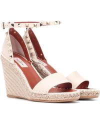 Valentino Rockstud Double Leather Wedge Espadrilles - Pink