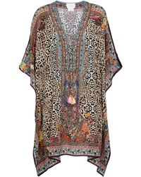 Camilla Leopard-print Silk Kaftan - Brown