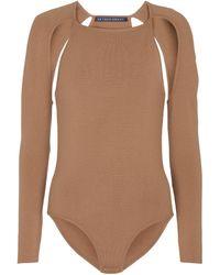 Zeynep Arcay Cutout Knit Bodysuit - Brown