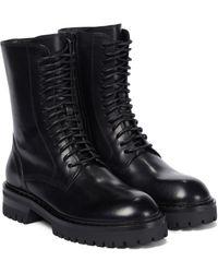 Ann Demeulemeester Alec Leather Combat Boots - Black