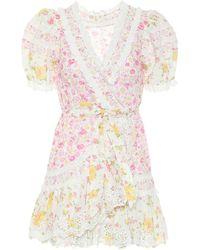 LoveShackFancy Belen Floral Cotton Wrap Dress - Multicolor