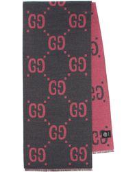 Gucci Wool And Silk Jacquard Scarf - Grey