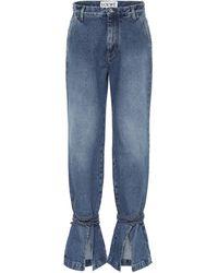 Loewe Tie-cut High-rise Boyfriend Jeans - Blue