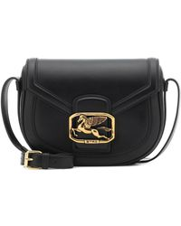 Etro Pegaso Leather Shoulder Bag - Black