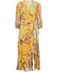 Etro Vestido midi de seda estampado - Amarillo