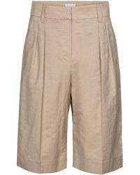 Brunello Cucinelli Bermuda Wool And Linen Shorts - Natural