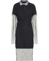 Y. Project Striped Cotton And Tulle Midi Dress - Black