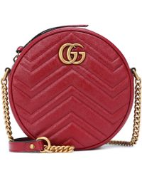 Gucci Bolso cámara GG Marmont Mini de piel - Rojo