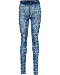 Ganni Floral Mesh Tights - Blue