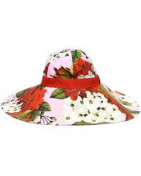 Dolce & Gabbana Floral Cotton Wide-brim Hat - Red