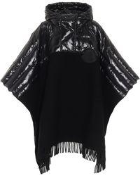 Moncler Poncho en laine à capuche - Noir