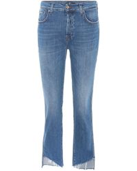 7 For All Mankind - High-Rise Cropped Jeans Edie - Lyst