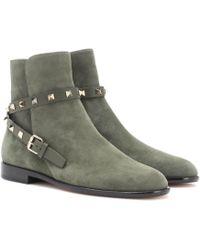Valentino Ankle Boots Rockstud aus Veloursleder - Grün