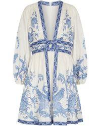 Zimmermann Vestido Aliane de lino - Azul