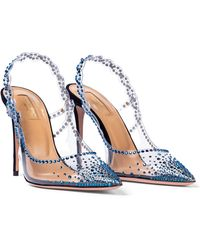Aquazzura Heaven 105 Embellished Court Shoes - Blue