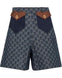 Gucci Jeansshorts mit GG Jacquard - Blau