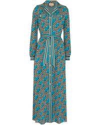 Gucci Maxikleid aus Jacquard - Blau